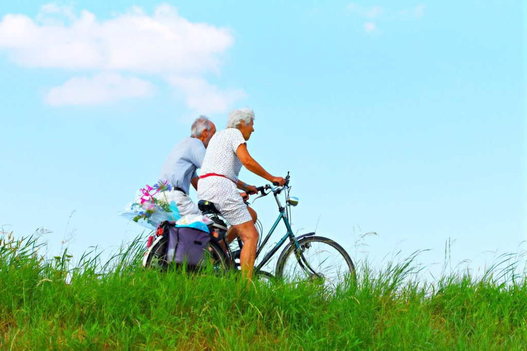 Older couple cycling